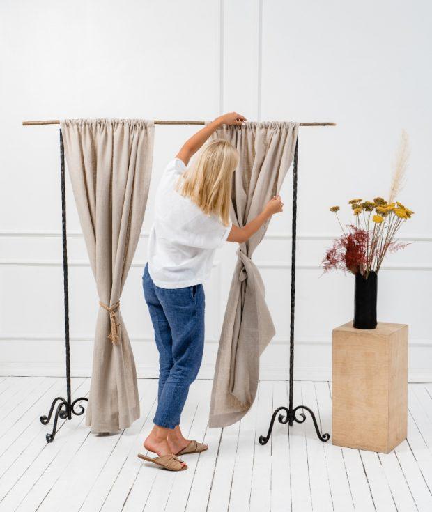 Rod Pocket linen curtain panels