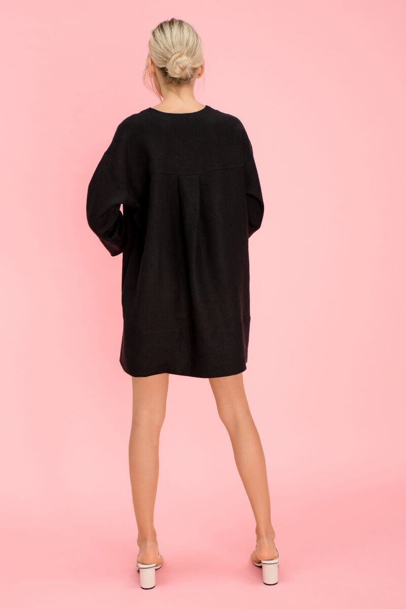 Black Loose Linen Dress