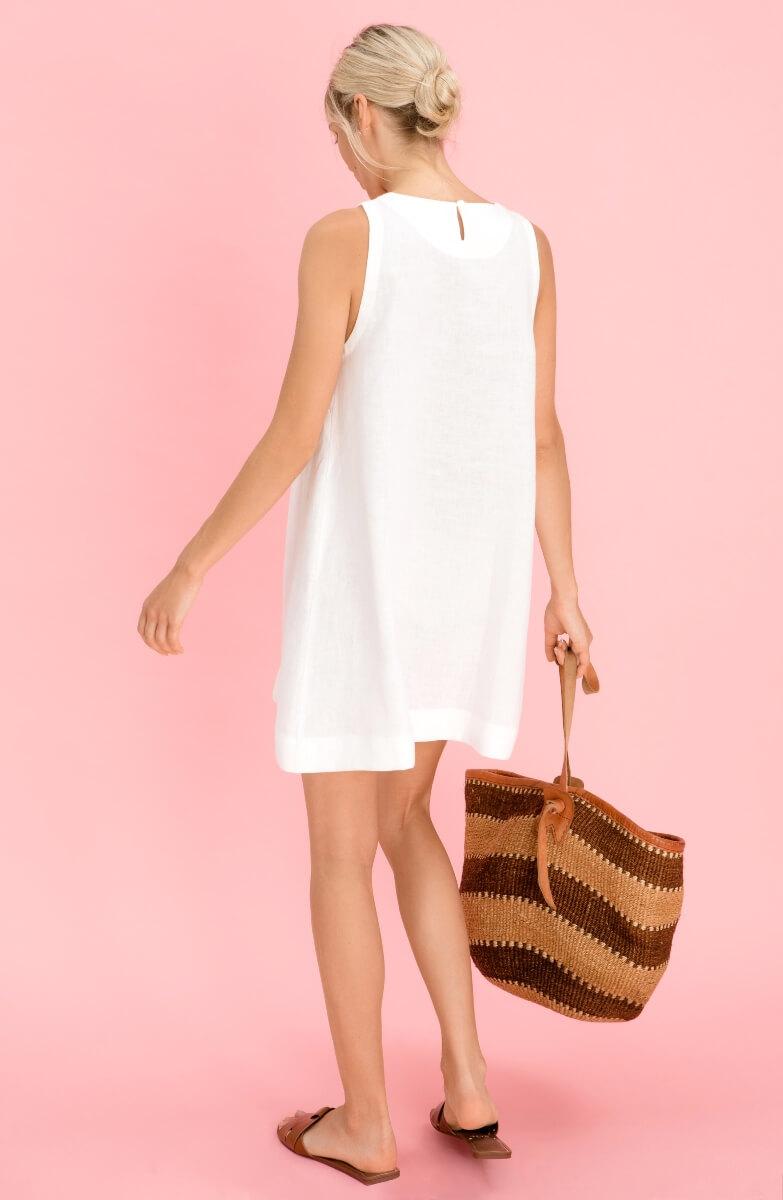 Short White Linen Dress